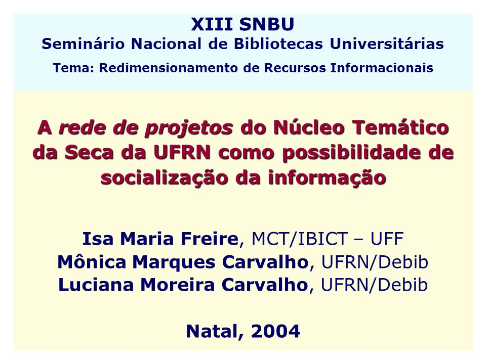 XIII SNBU Seminário Nacional de Bibliotecas Universitárias Tema: Redimensionamento de Recursos Informacionais