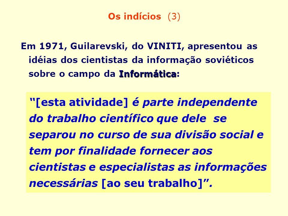 Os indícios (3) Em 1971, Guilarevski, do VINITI, apresentou as idéias dos cientistas da informação soviéticos sobre o campo da Informática: