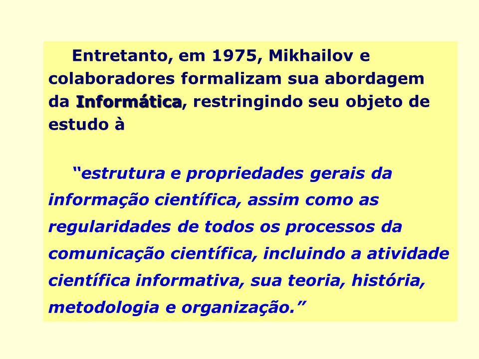 Entretanto, em 1975, Mikhailov e colaboradores formalizam sua abordagem da Informática, restringindo seu objeto de estudo à