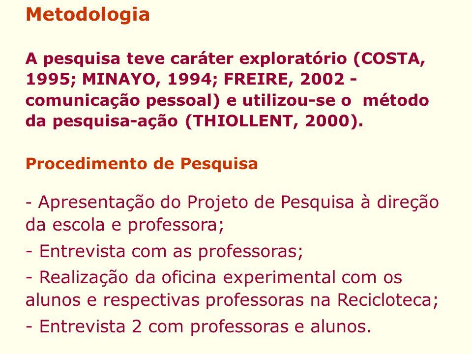 Metodologia - Entrevista com as professoras;