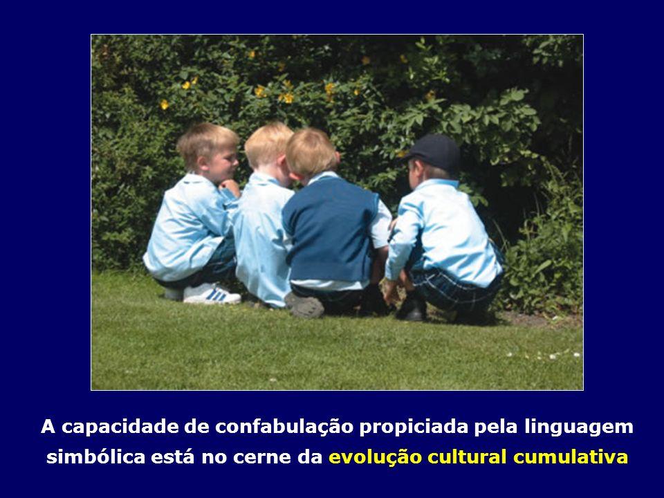 A capacidade de confabulação propiciada pela linguagem simbólica está no cerne da evolução cultural cumulativa