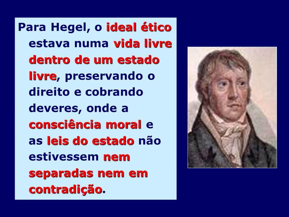 Para Hegel, o ideal ético estava numa vida livre dentro de um estado livre, preservando o direito e cobrando deveres, onde a consciência moral e as leis do estado não estivessem nem separadas nem em contradição.