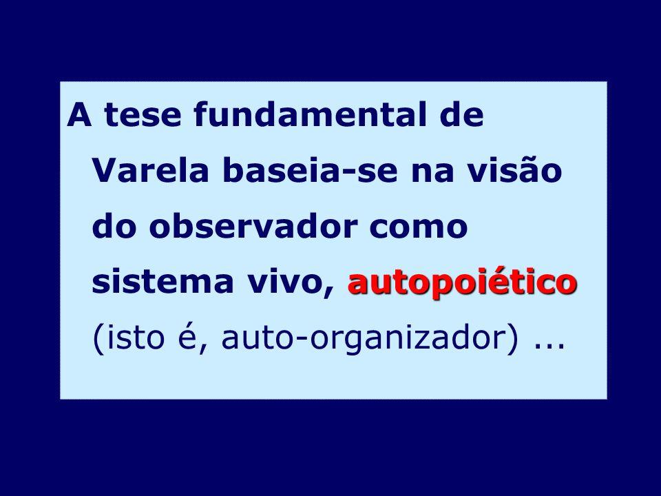 A tese fundamental de Varela baseia-se na visão do observador como sistema vivo, autopoiético (isto é, auto-organizador) ...
