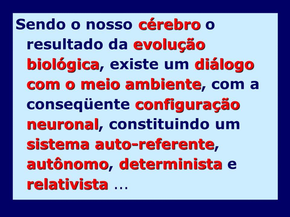 Sendo o nosso cérebro o resultado da evolução biológica, existe um diálogo com o meio ambiente, com a conseqüente configuração neuronal, constituindo um sistema auto-referente, autônomo, determinista e relativista ...