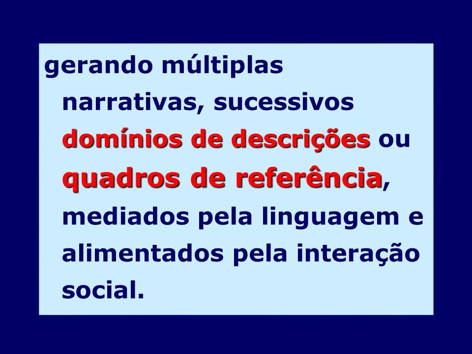 gerando múltiplas narrativas, sucessivos domínios de descrições ou quadros de referência, mediados pela linguagem e alimentados pela interação social.