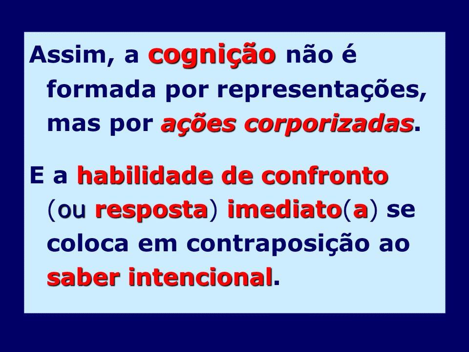 Assim, a cognição não é formada por representações, mas por ações corporizadas.