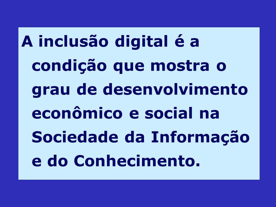 A inclusão digital é a condição que mostra o grau de desenvolvimento econômico e social na Sociedade da Informação e do Conhecimento.