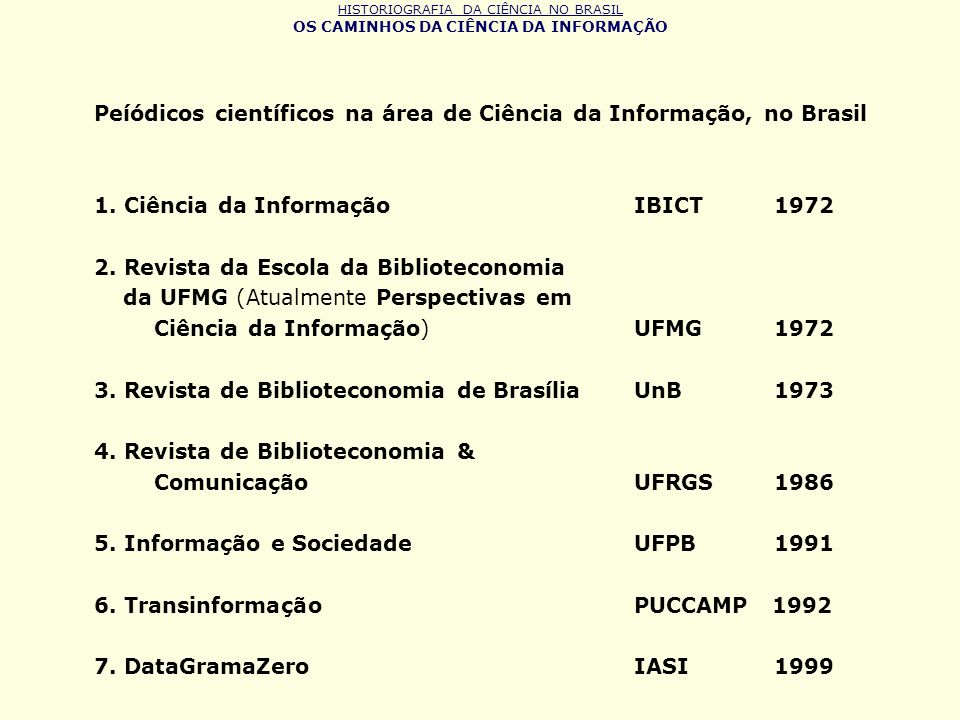 Peíódicos científicos na área de Ciência da Informação, no Brasil