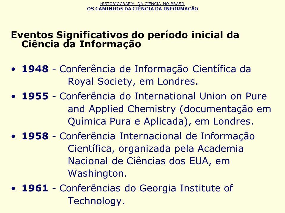 Eventos Significativos do período inicial da Ciência da Informação