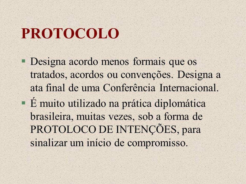 PROTOCOLODesigna acordo menos formais que os tratados, acordos ou convenções. Designa a ata final de uma Conferência Internacional.