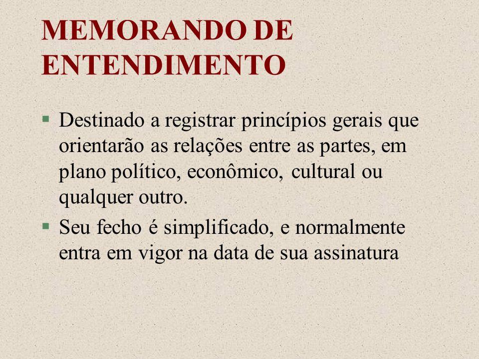 MEMORANDO DE ENTENDIMENTO