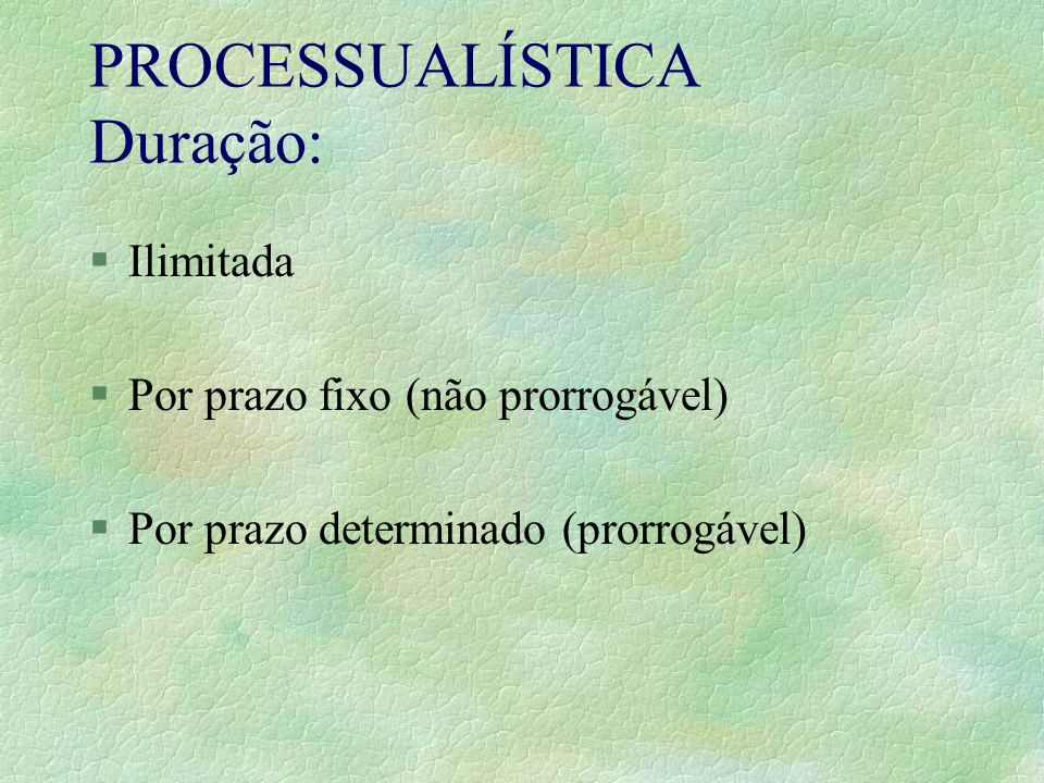 PROCESSUALÍSTICA Duração: