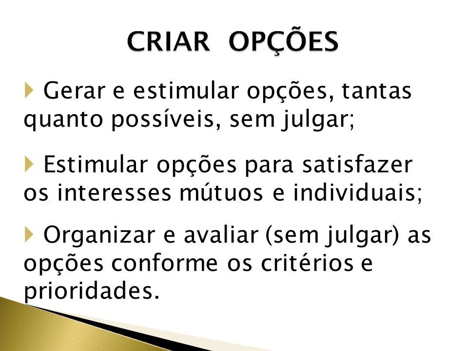 CRIAR OPÇÕES Gerar e estimular opções, tantas quanto possíveis, sem julgar; Estimular opções para satisfazer os interesses mútuos e individuais;