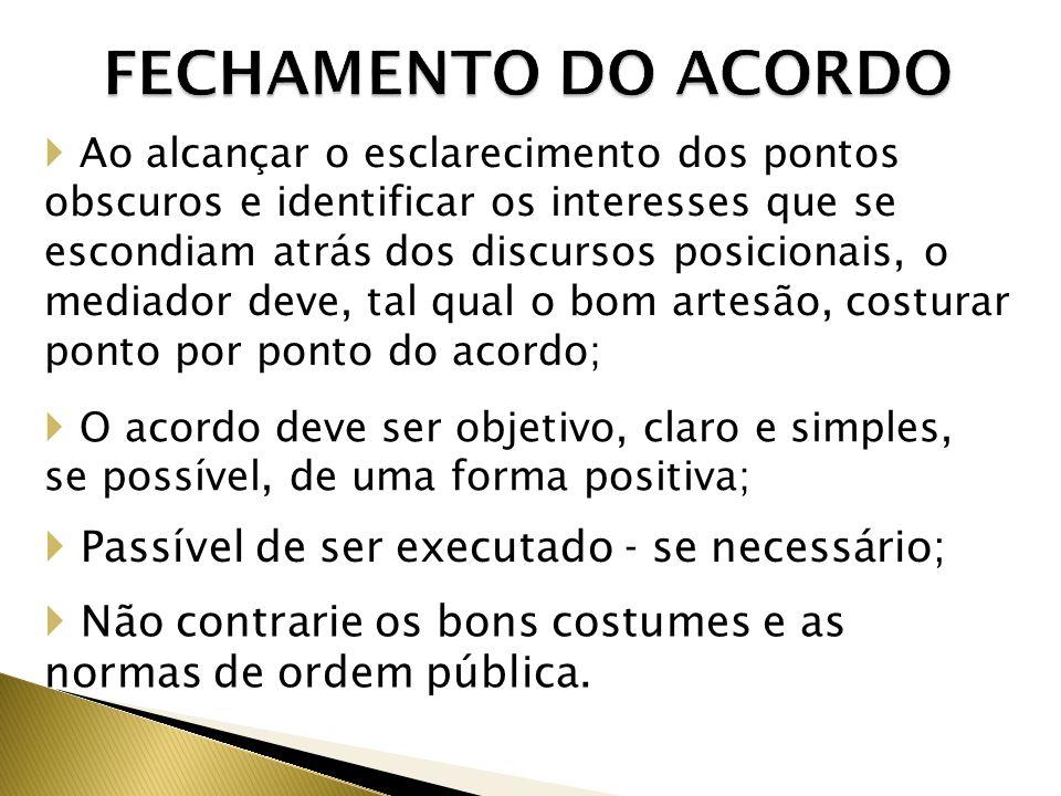 FECHAMENTO DO ACORDO Passível de ser executado - se necessário;
