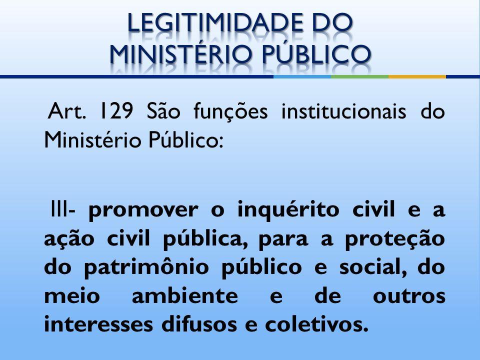 LEGITIMIDADE DO MINISTÉRIO PÚBLICO