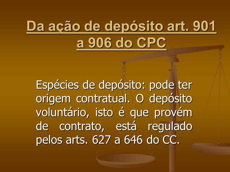 Da ação de depósito art. 901 a 906 do CPC