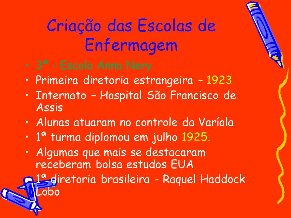 Criação das Escolas de Enfermagem
