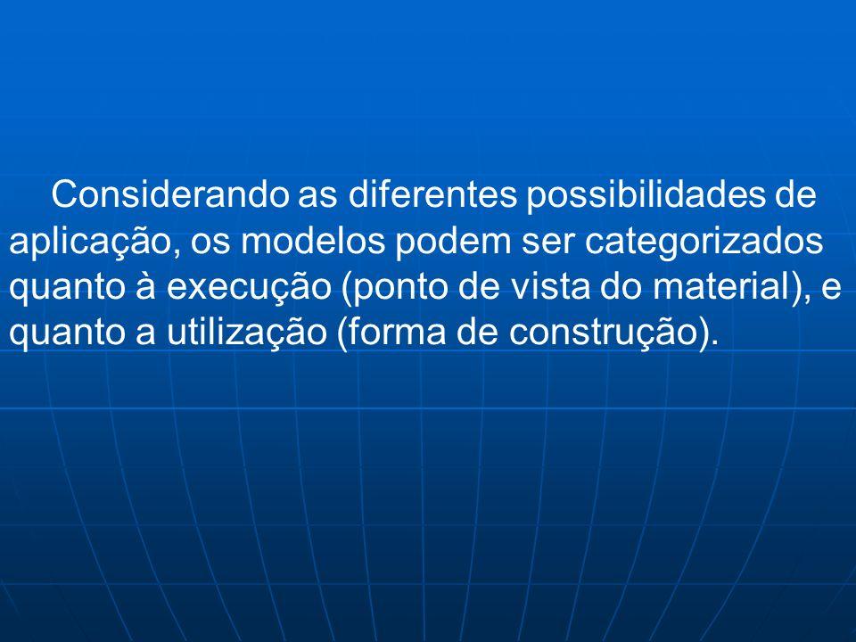 Considerando as diferentes possibilidades de aplicação, os modelos podem ser categorizados quanto à execução (ponto de vista do material), e quanto a utilização (forma de construção).