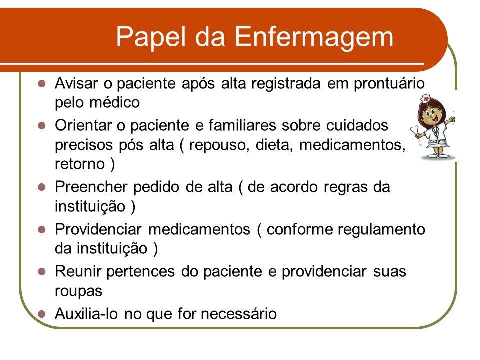 Papel da Enfermagem Avisar o paciente após alta registrada em prontuário pelo médico.