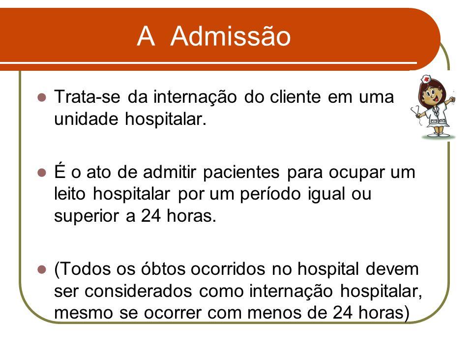 A Admissão Trata-se da internação do cliente em uma unidade hospitalar.