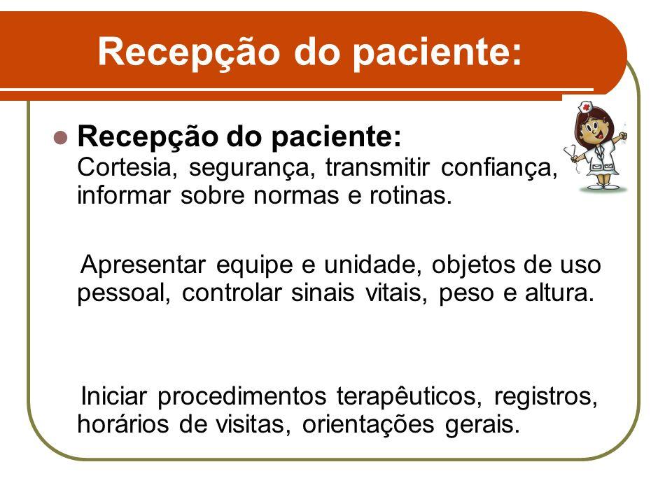 Recepção do paciente: Recepção do paciente: Cortesia, segurança, transmitir confiança, informar sobre normas e rotinas.