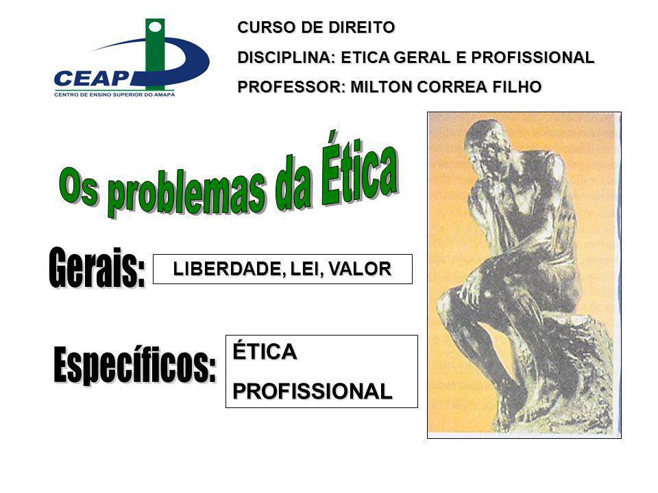 Os problemas da Ética Gerais: Específicos: ÉTICA PROFISSIONAL