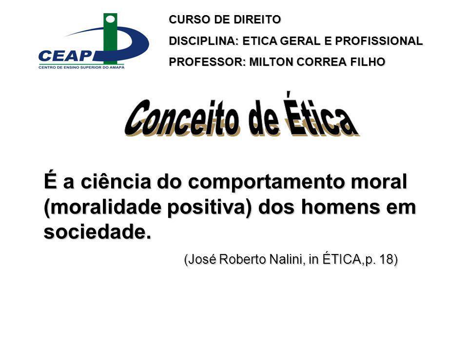 CURSO DE DIREITO DISCIPLINA: ETICA GERAL E PROFISSIONAL. PROFESSOR: MILTON CORREA FILHO. Conceito de Ética.
