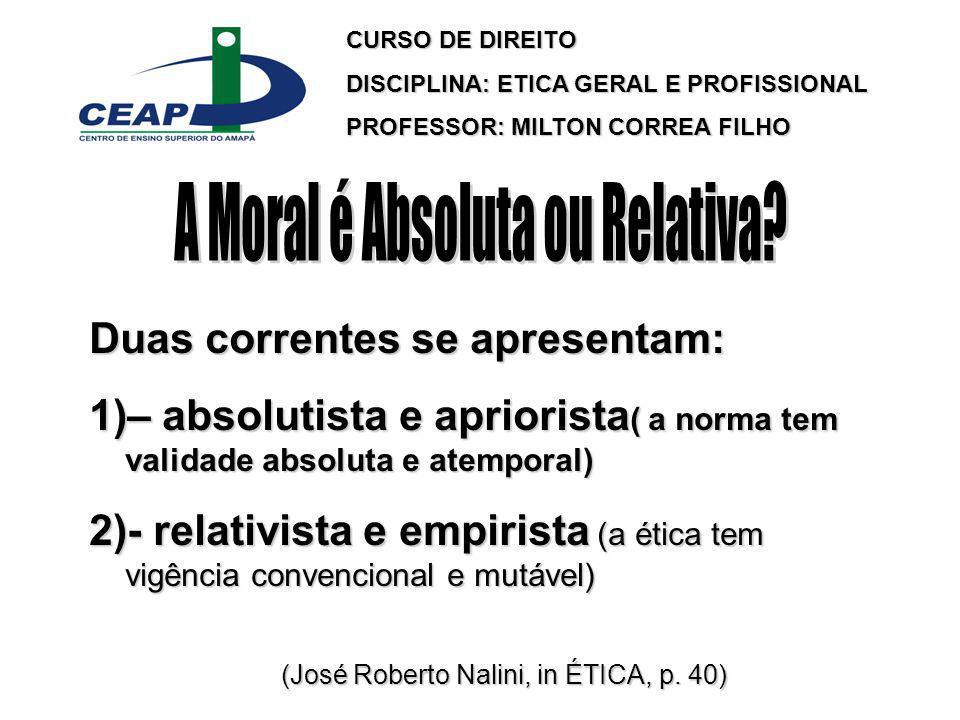 A Moral é Absoluta ou Relativa