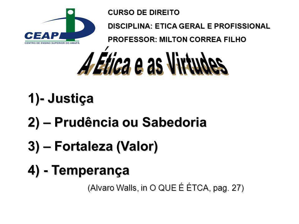 A Ética e as Virtudes - Justiça 2) – Prudência ou Sabedoria
