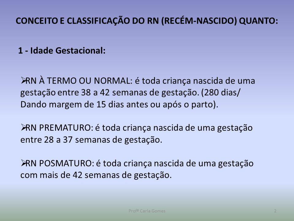 CONCEITO E CLASSIFICAÇÃO DO RN (RECÉM-NASCIDO) QUANTO: