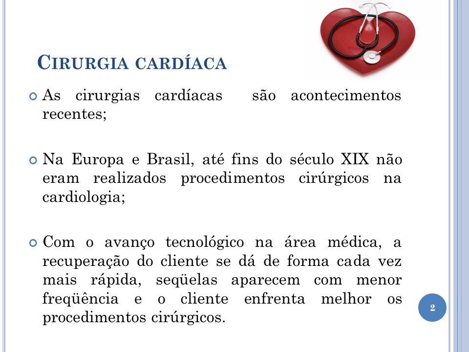 Cirurgia cardíaca As cirurgias cardíacas são acontecimentos recentes;