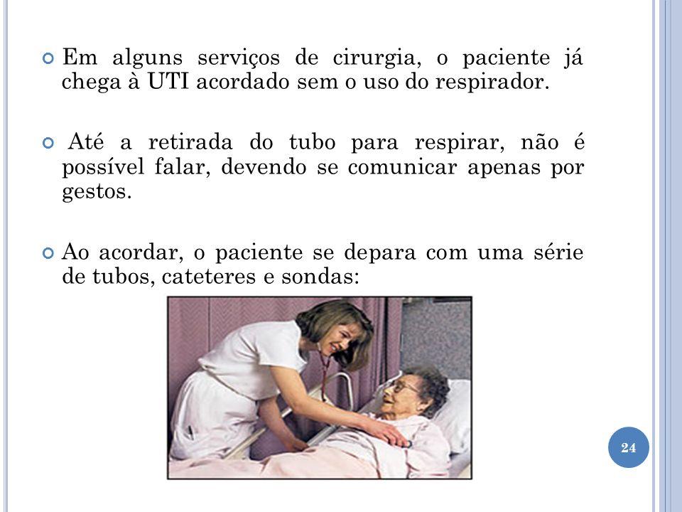 Em alguns serviços de cirurgia, o paciente já chega à UTI acordado sem o uso do respirador.