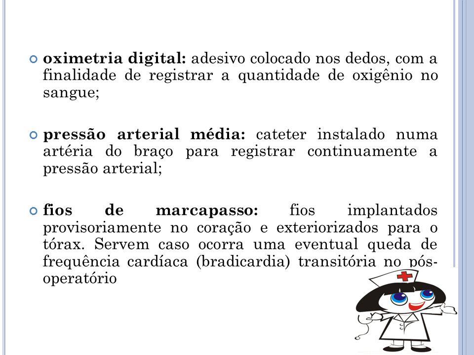 oximetria digital: adesivo colocado nos dedos, com a finalidade de registrar a quantidade de oxigênio no sangue;