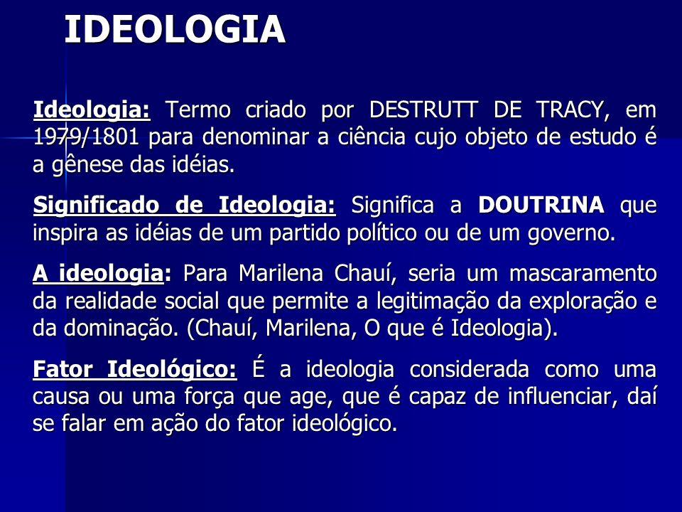 IDEOLOGIA Ideologia: Termo criado por DESTRUTT DE TRACY, em 1979/1801 para denominar a ciência cujo objeto de estudo é a gênese das idéias.