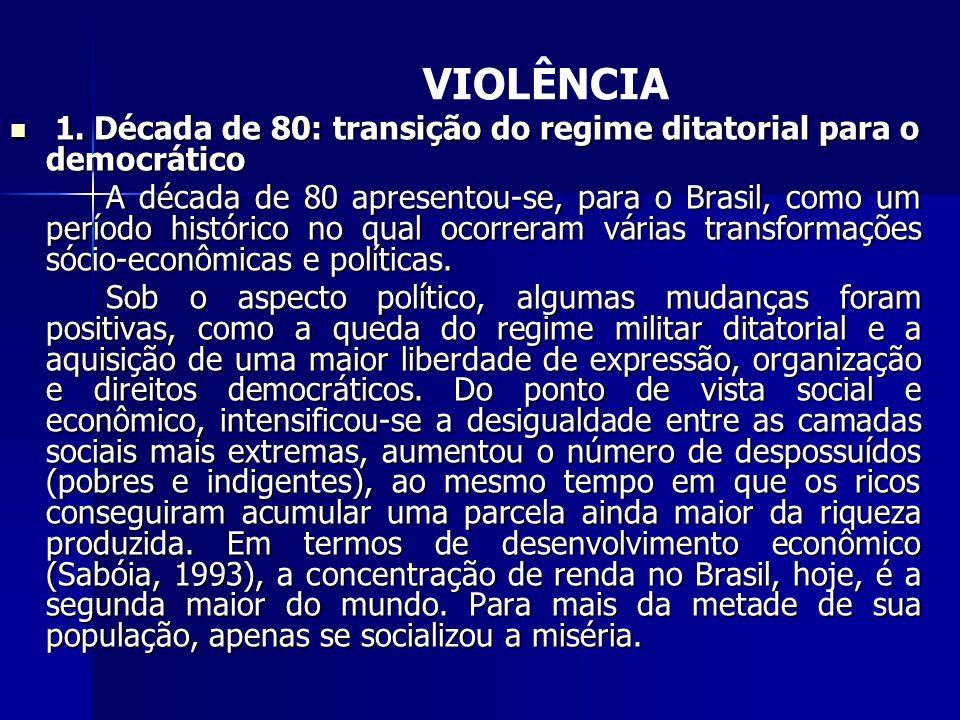 VIOLÊNCIA 1. Década de 80: transição do regime ditatorial para o democrático.