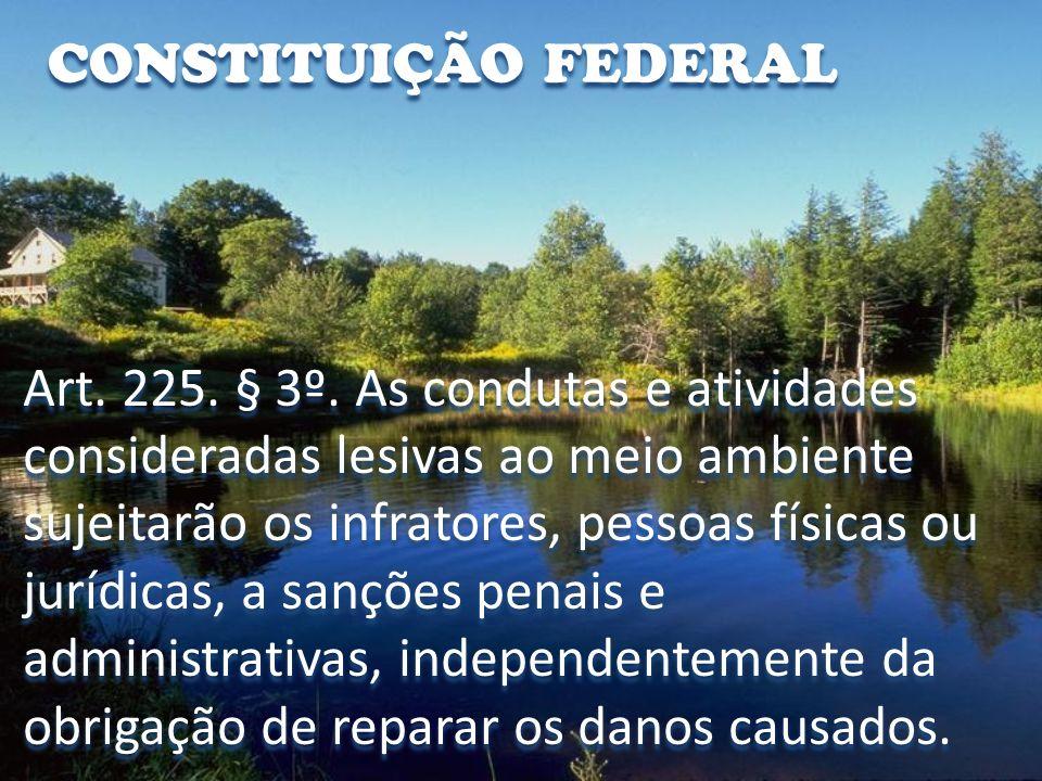 CONSTITUIÇÃO FEDERAL Art. 225. § 3º. As condutas e atividades