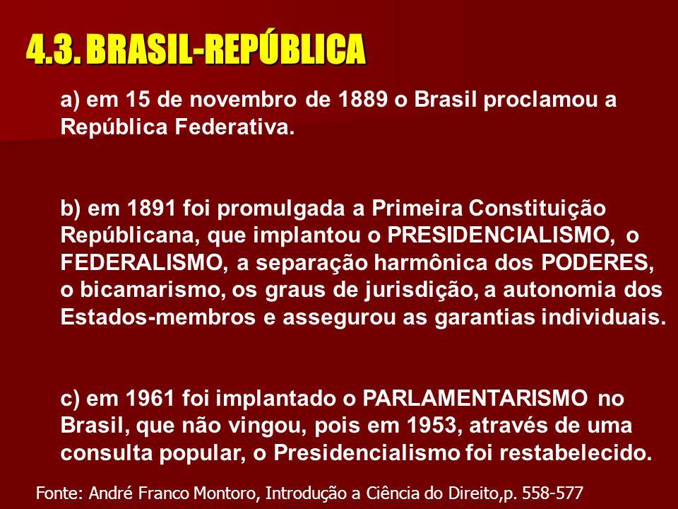 4.3. BRASIL-REPÚBLICA a) em 15 de novembro de 1889 o Brasil proclamou a República Federativa.