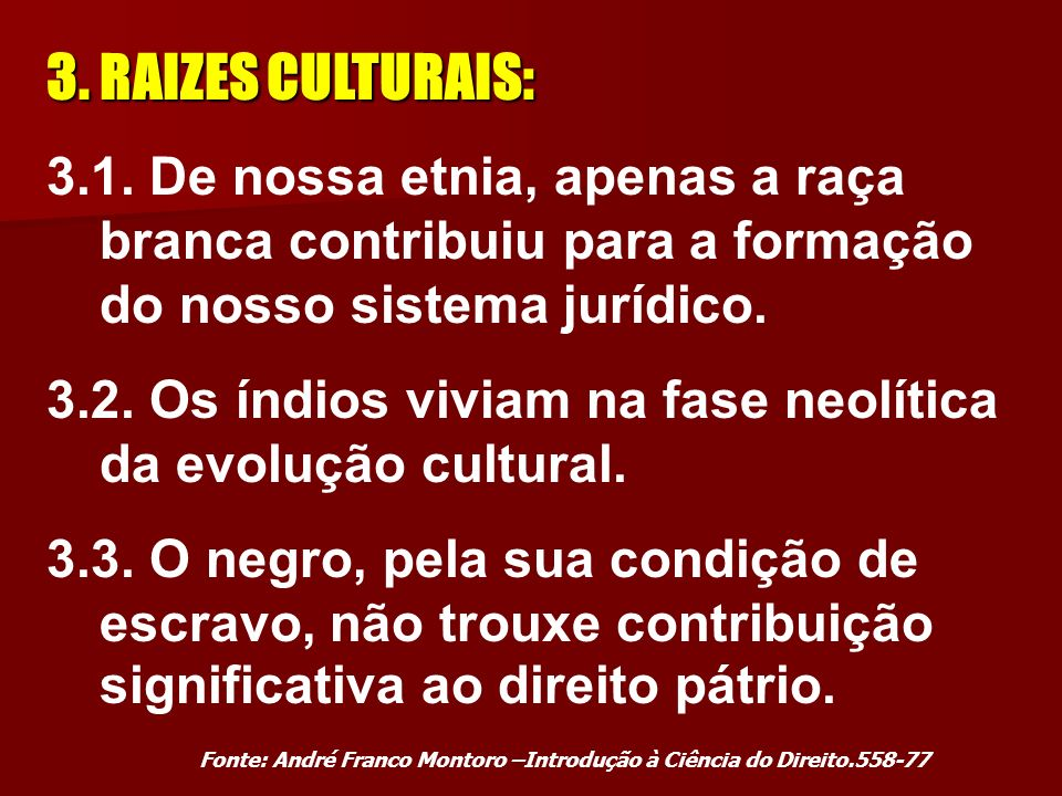 3. RAIZES CULTURAIS: 3.1. De nossa etnia, apenas a raça branca contribuiu para a formação do nosso sistema jurídico.