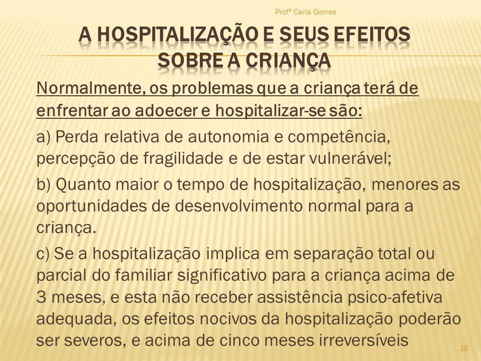 A HOSPITALIZAÇÃO E SEUS EFEITOS SOBRE A CRIANÇA