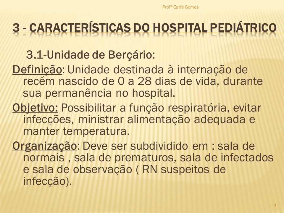 3 - Características do Hospital Pediátrico