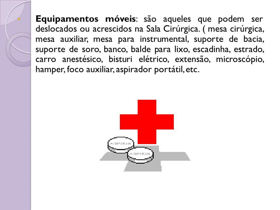 Equipamentos móveis: são aqueles que podem ser deslocados ou acrescidos na Sala Cirúrgica.