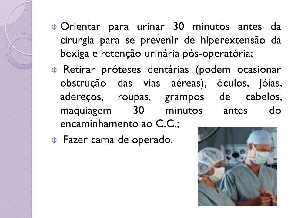 Orientar para urinar 30 minutos antes da cirurgia para se prevenir de hiperextensão da bexiga e retenção urinária pós-operatória;