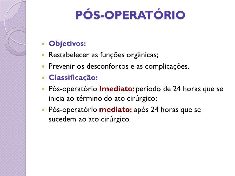 PÓS-OPERATÓRIO Objetivos: Restabelecer as funções orgânicas;