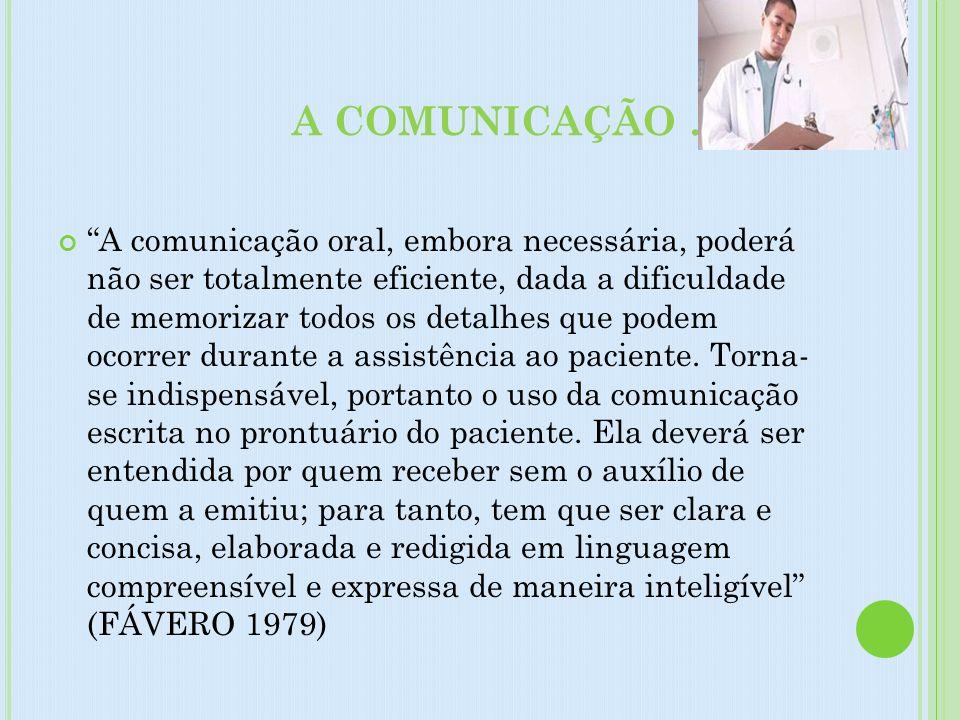 A COMUNICAÇÃO .....