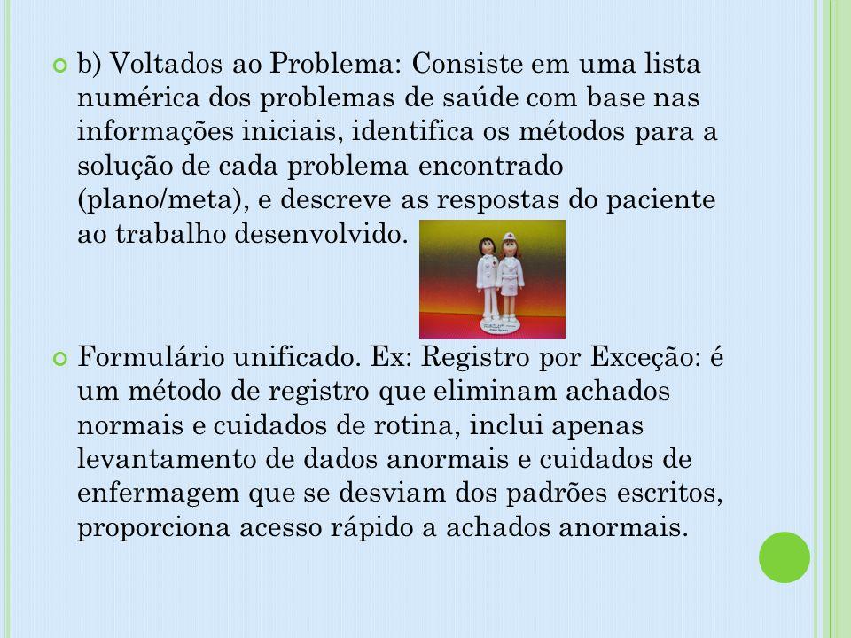 b) Voltados ao Problema: Consiste em uma lista numérica dos problemas de saúde com base nas informações iniciais, identifica os métodos para a solução de cada problema encontrado (plano/meta), e descreve as respostas do paciente ao trabalho desenvolvido.