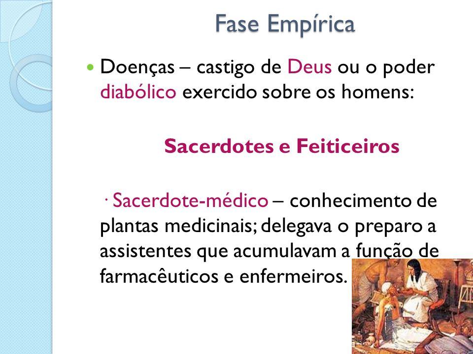 Fase EmpíricaDoenças – castigo de Deus ou o poder diabólico exercido sobre os homens: Sacerdotes e Feiticeiros.