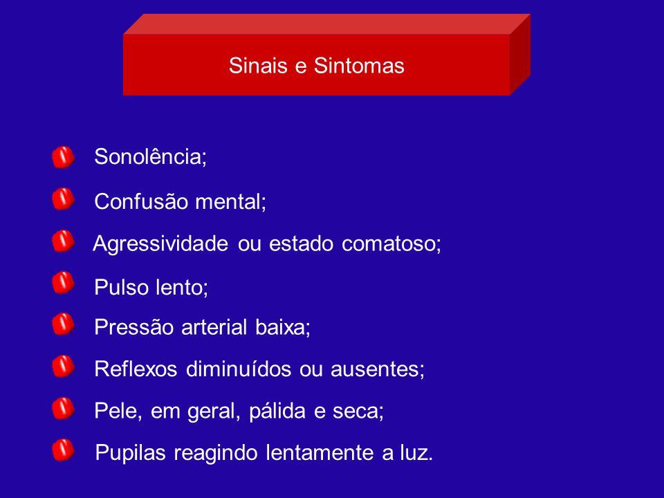 Sinais e Sintomas Sonolência; Confusão mental; Agressividade ou estado comatoso; Pulso lento; Pressão arterial baixa;
