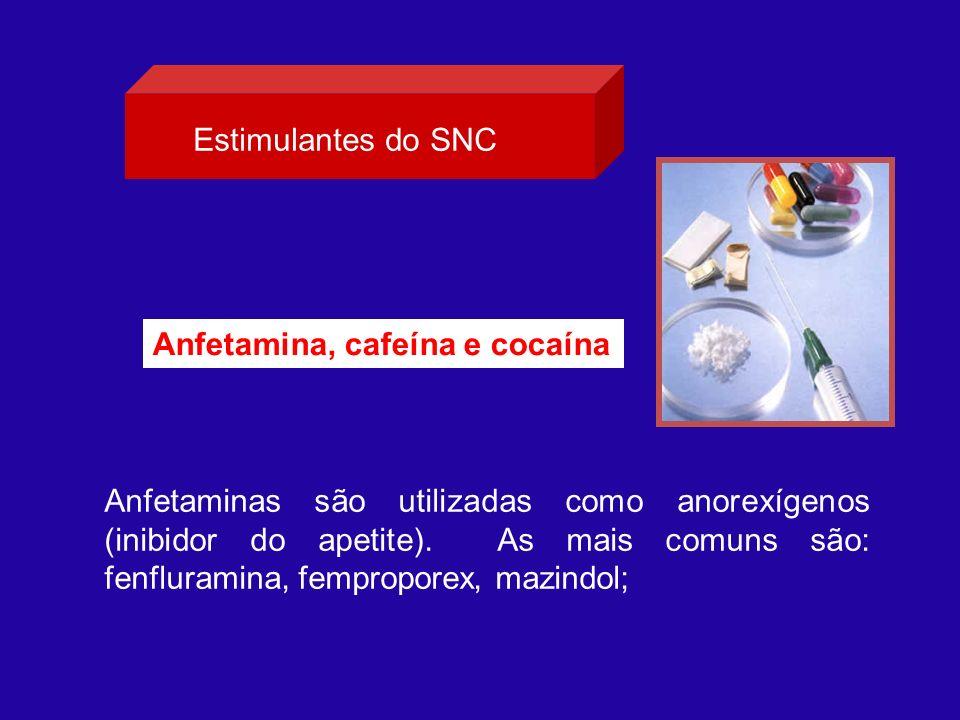 Estimulantes do SNC Anfetamina, cafeína e cocaína.