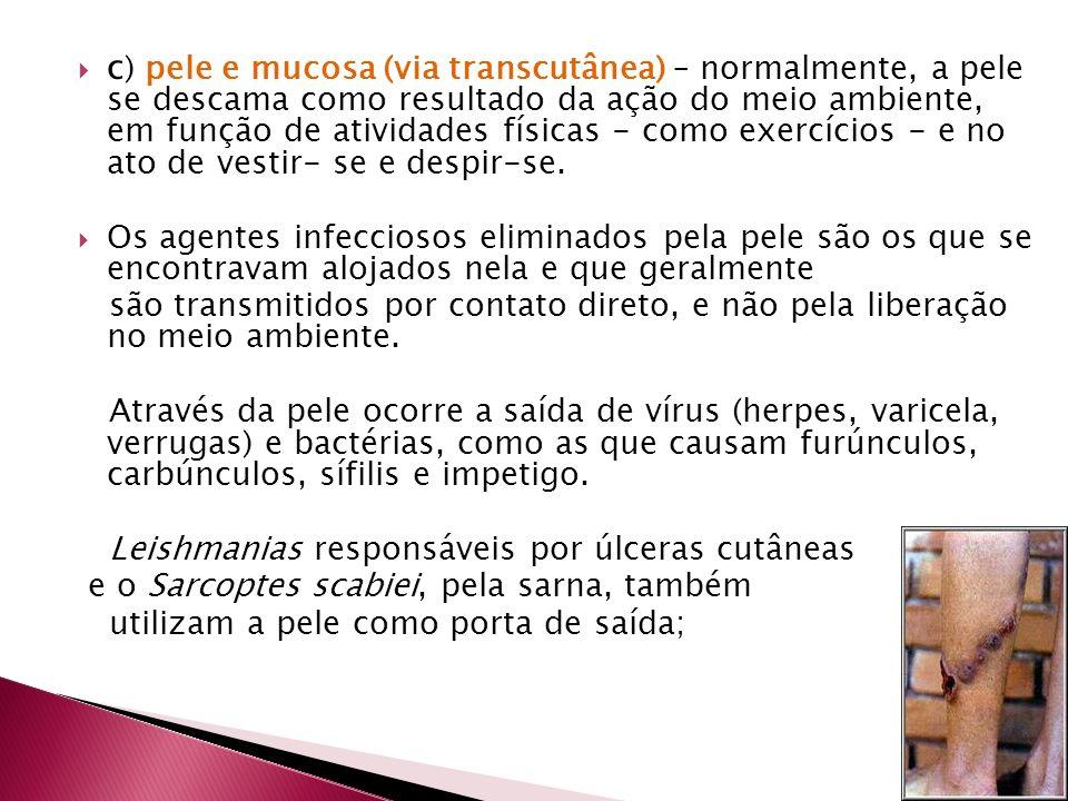 c) pele e mucosa (via transcutânea) – normalmente, a pele se descama como resultado da ação do meio ambiente, em função de atividades físicas - como exercícios - e no ato de vestir- se e despir-se.