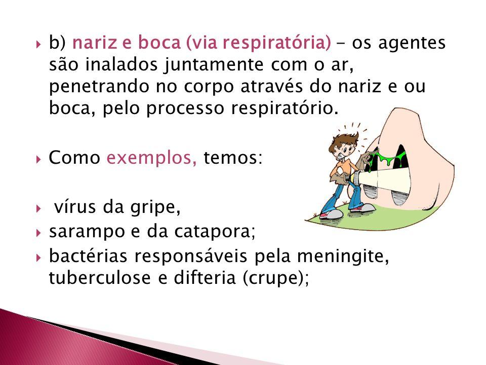 b) nariz e boca (via respiratória) - os agentes são inalados juntamente com o ar, penetrando no corpo através do nariz e ou boca, pelo processo respiratório.